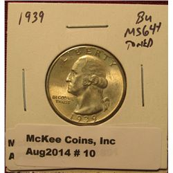 10.1939 P Washington Quarter BU  MS 64+ Toned