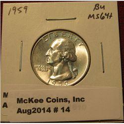 14.1959 P Washington Quarter BU  MS 64+