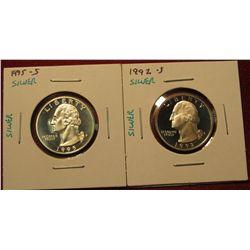 18. (2) Proof 90% Silver Washington Quarters – 1992-S & 1995-S