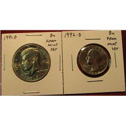 31. 1972-D Washington Quarter & 1971-D Kennedy Half, both BU  from Mint Sets