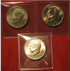32.(3) BU  Kennedy Halves – 1982-P, 1982-D & 1983-D – scarcer dates in BU  as very few Mint Sets we