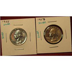 34. (2) Proof 90% SILVER Washington Quarters – 1957 P & 1958 P