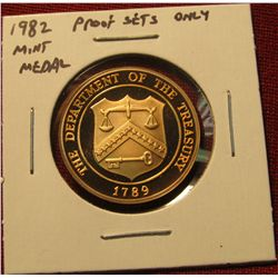 36. Proof Mint Medal from 1982 Proof Set – same weight & diameter as an SBA Dollar, made to fill the