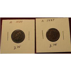 39. 1887 & 1889 Indian head Cents. AG-G.