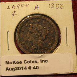 40. 1853 U.S. Large Cent. VF. Some verdigris.