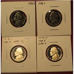 44. (4) Proof Jefferson Nickels – 1973-S, 1976-S, 1979-S type 1 & 1979-S type 2 (scarce).