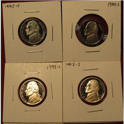 45. (4) Proof Jefferson Nickels – 1992-S, 1993-S, 1994-S & 1995-S.
