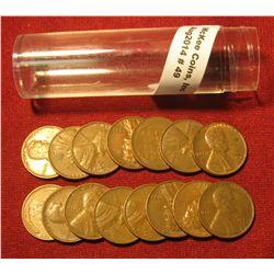 49. (15) Shift D 1953 Wheat Lincoln Cents in a plastic tube. Scarce Mint error.