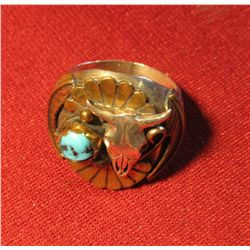 802.LARGE & HEAVY silver and turquoise ring with longhorn skull, marked F. TOM STERLING weighs 24 g