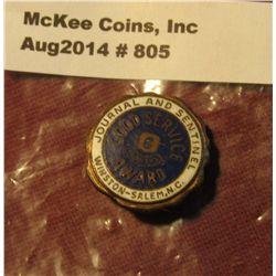 805.Journal and Sentinel Winston-Salem Good Service Award pin, Bastian Bros. Co. Roch. NY