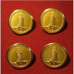 """807.4 old brass BU ttons with lighthouses, marked """"WATERBURY BUTTON CT USA"""""""