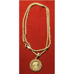 826.Silver rope necklace with miniature .999 Silver Eagle. Necklace and bezel are both marked 925,