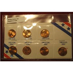 848. 7 coin set of 1982 BU siness strike Lincoln Cents, all properly attriBU ted and labeled on a sp