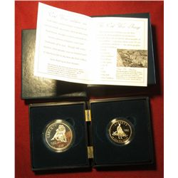 852. 1995 Civil War Battlefield Coins, Proof 2 coin Dollar and Half set in special case with photo C