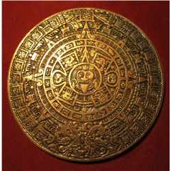 "860.     Large bronze Aztec Calendar, back has Aztec Indian holding scroll – ""Hecho En Mexico"""