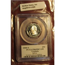 866. 2000-S Proof Virginia State Quarter, graded PR69DCAM by PCGS – great for a registry set