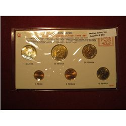 892.   Finland Modern Uncirculated Type Set, 6 coin set, 1 Markka coin is silver, all coins dated 19