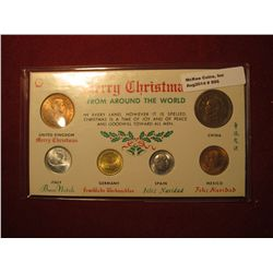 896.  Merry Christmas from Around the World, BU  6 coin set, coins are dated 1950-1965