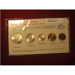 897.   Philippines Modern Uncirculated Type Set, 5 coin set, coins are dated 1963-1964