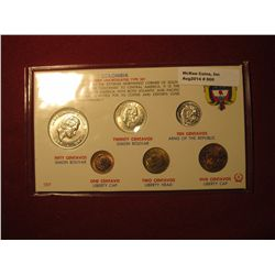900.   Columbia Modern Uncirculated Type Set, 6 coin set, coins are dated 1965-1966