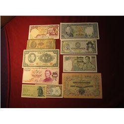 919. 10 (ten) mixed World Banknotes, WWII era to present