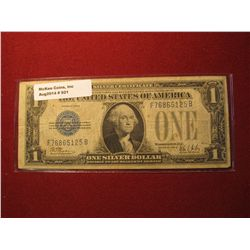"""921.Series 1928B """"Funny Back"""" US $1 Silver Certificate circulated"""