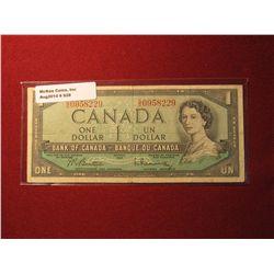 928. Series 1954 Canada $1 banknote, Beattie-Rasminskey signatures