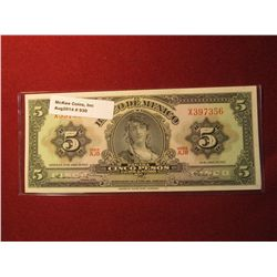 930.Series 24 April 1963 Mexico 5 Pesos banknotes, Crisp Uncirculated