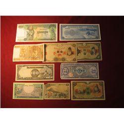 932. 10 (ten) mixed World Banknotes, WWII era to present