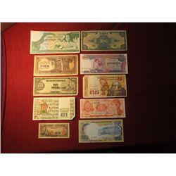 936. 10 (ten) mixed World Banknotes, WWII era to present