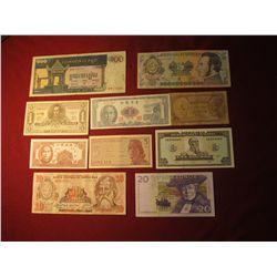 939. 10 (ten) mixed World Banknotes, WWII era to present
