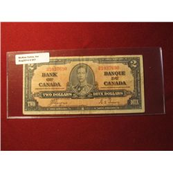 941. Series 1937 Bank of Canada $2 banknote, Coyne-Towers signatures
