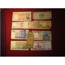 943. 10 (ten) mixed World Banknotes, WWII era to present