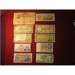 945. 10 (ten) mixed World Banknotes, WWII era to present