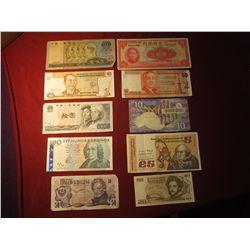 949. 10 (ten) mixed World Banknotes, WWII era to present