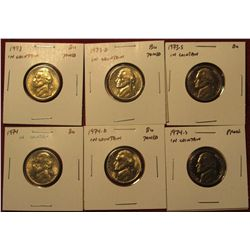 1252. 6 Jefferson Nickels – 1973 PD & 1974 PD, all BU ; 1973-S Proof & 1974-S Proof, part of set bre