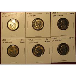1253. 6 Jefferson Nickels – 1975 PD & 1976 PD, all BU ; 1975-S Proof & 1976-S Proof, part of set bre