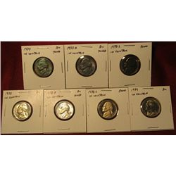 1254. 7 Jefferson Nickels – 1977 PD, 1978 PD and 1979, all BU ; 1977-S Proof & 1978-S Proof, part of