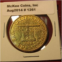 1261. Old copy of an 1855 Blake and Company Assayers $20 Gold piece – gold plated, not marked, for e