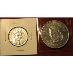 1274. 2 aluminum tokens – Albert Einstein and Neil ArMStrong, First man on the Moon
