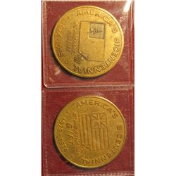 1276. 2 Bicentennial medals issued for Boy Scouts featuring flags from the Revolutionary War