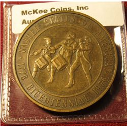 1301. The Spirit of '76 Bicentennial Celebration 1776-1976 commemorative medal with fife and druMS o