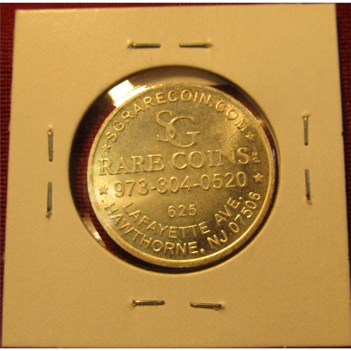 1311  1895 P Morgan Silver Dollar advertising coin for SG Rare Coins,  Hawthorne, NJ