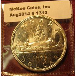 1313. 1966 Canada Silver Dollar, BU