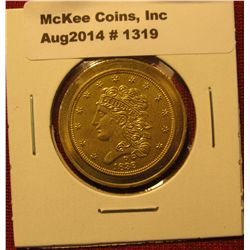 1319. 1838-D $5 Gold advertising coin Al AdaMS / Gold Rush Gallery, Dalohnega, GA