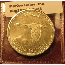 1323. 1967 Canada Silver Dollar BU