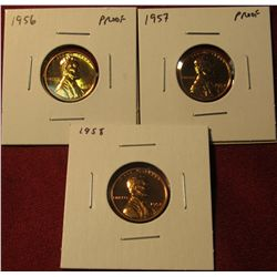 1326. 3 Proof Lincoln Wheat Cents – 1956 P, 1957 P & 1958 P