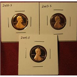 1333. 3 Proof Lincoln Shield Cents – 2010-S, 2013-S & 2014-S