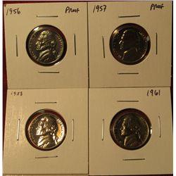 1336. 4 Proof Jefferson Nickels – 1956 P, 1957 P, 1958 P & 1961 P