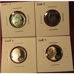 1339. 4 Proof Jefferson Nickels – 2001-S, 2002-S, 2007-S, & 2008-S